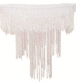 2 FT X 2 FT - Artificial Fur Jhumar - Hanging Jhumar - White Color
