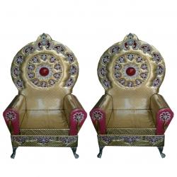 Wedding Reception Sofa - Varmala Sofa - Made Of Wood And Metal - Pair Of 1 (2 Pieces) Golden Color .