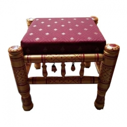 Sankheda - Wooden Stool - Small Stool - Maroon Color - Set of 2