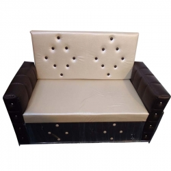 3 Seater Sofa - Made Of Steel & Fome - Cream & Brown Color