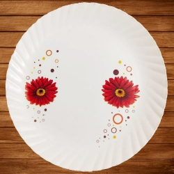 12 Inches Dinner Plates With Printed Design - Made Of Food Grade Virgin Plastic.