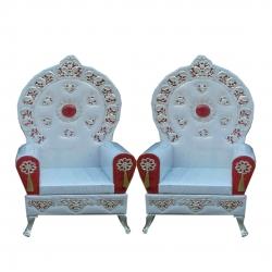 Wedding Reception Sofa - Varmala Sofa - Made Of Wood And Metal - Pair Of 1 (2 Pieces) White  Color .
