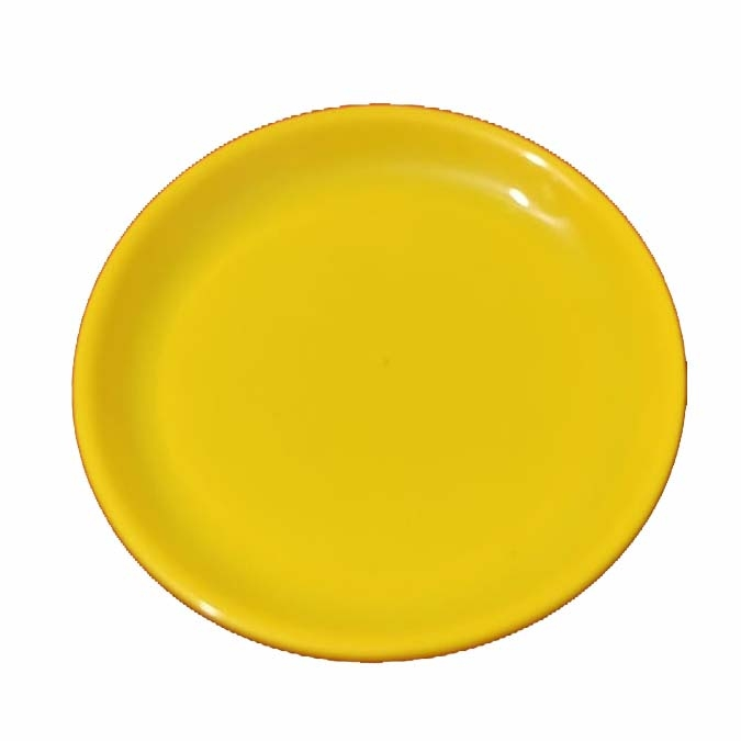 7 Inch Quarter Plates /Made Of Food-Grade Virgin Plastic Material / Round Shape ; Yellow Color