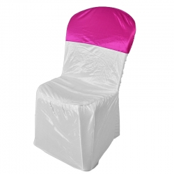 Chandni Chair Cover without Handle For Plastic Chair White & Pink Color