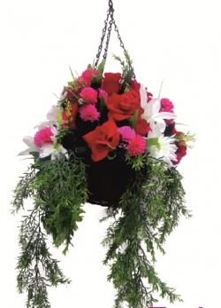 2 FT - Artificial Flower Hanging Basket - Flower Decoration - Multi Color