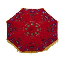 3 FT Diameter - Rajasthani Umbrella Handicraft Walking Stick Umbrella - Multi Color
