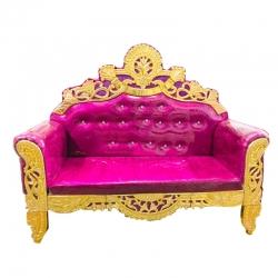 Pink & Golden Color - Regular - Couches - Sofa - Wedding Sofa - Maharaja Sofa - Wedding Couches - Made of Wooden & Metal