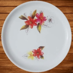 12 Inches - Dinner Plates - Made Of Food-Grade Regular Plastic Material - Round Shape -  White Printed Plate.
