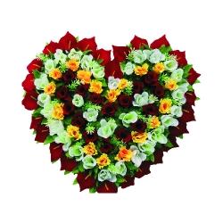 2 FT X 2 FT - Artificial Plastic Heart Flower Bouquet - Flower Decoration - Multi Color