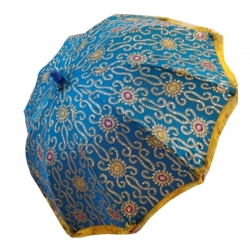 6ft Diameter - Garden Umbrella -  Blue & Gold Finish Fancy Decorative Umbrella / Orange Color