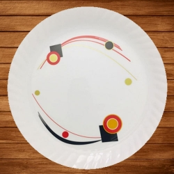 13 Inches Dinner Plates with Printed design - Made of Food Grade Virgin Plastic - White Color - 170 Gm