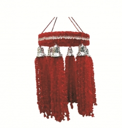2 FT - Artificial Fur Jhumar - Hanging Jhumar - Red Color