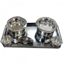Munching Snacks - Serving Bowls with Tray Set (Silver) - Made of Stainless Steel