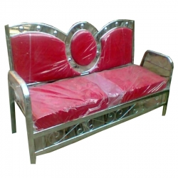 3 Seater Sofa - Royal Steel Sofa - VIP Sofa - Wedding Steel Sofa - Made of Stainless Steel - Red Color