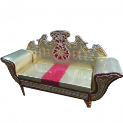 Wooden Sofa - Wedding Reception Sofa - Regular Couches - Golden & Red Color.