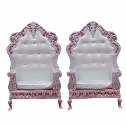 Wedding Reception Sofa - Varmala Sofa - Made Of Wood And Metal - Pair Of 1 (2 Pieces) White Color .