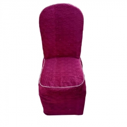Heavy Velvet Embossed Chair Cover With - Piping Maroon Color .