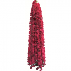 5 FT- Artificial Plastic Flower Garland Toran - Flower Ladi - Flower Decoration - Red Color 1 Packet ( 12 Pieces )