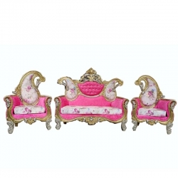Pink Color - Heavy - Udaipur - Sofa Set - Wedding Sofa Set - Couches - Made Of Wooden & Brass Metal. - 1 Sofa & 1 Pair of Chair ( 2 Chair )