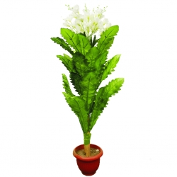 3.5 FT - Artificial Plastic Flower Plant - Flower Tree with Pot - Green Color