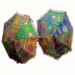 15 Inch Height & 18 inch Diameter - Rajasthani Umbrella Handicraft Walking Stick Umbrella - Multi Color