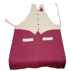 Jacket Cotton Kitchen Apron With Front Pocket - Maroon Color