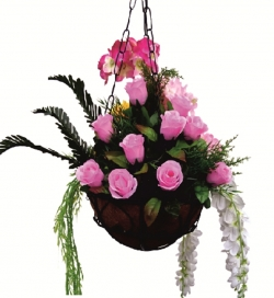 2 FT - Artificial Flower Hanging Basket - Flower Decoration - Multi Color