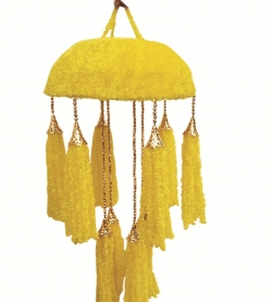 2 FT - Artificial Fur Jhumar - Hanging Jhumar - Yellow Color