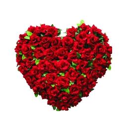2 FT X 2 FT - Artificial Plastic Heart Flower Bouquet - Flower Decoration - Red Color