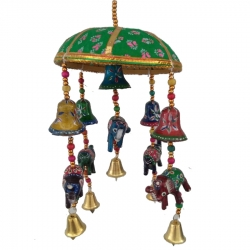 1.5 FT - Rajasthani Paper Mache Decorative Jhumar Wind Chime Hangings - Multi Color