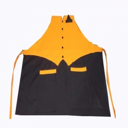 Jacket Cotton Kitchen Apron With Front Pocket - Orange & Black Color