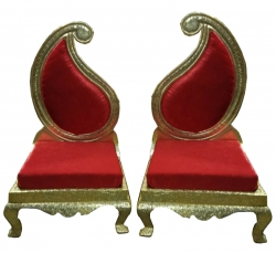 Red Color - Udaipur - Heavy - Premium - Mandap Chair - Wedding Chair - Varmala Chair Set - Chair Set - Made of Wooden & Metal - 1 Pair ( 2 Chair )