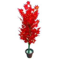 3.5 FT - Artificial Plastic Plant - Flower Tree with Pot - Red Color