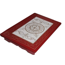 14 Inch X 20 Inch - Sankheda Pata - Wooden Pata - Decorative Wooden Showpiece - Red & White Color.