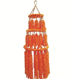 2 FT - Artificial Fur Jhumar - Hanging Jhumar - Orange Color