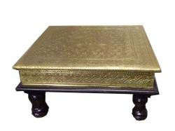 12x12 Pooja Chowki - Decorative Brass Item - Ethnic Design- Gold  Metal.