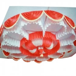 Designer Mandap Ceiling Cloth - Design Brite Lycra Cloth - Orange & White Color