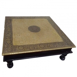 18 Inch X 18 Inch - Golden Color - Puja Chowki - Pata - Chowki - Chaurang - Bajoth - Made of Wooden & Brass Meta.