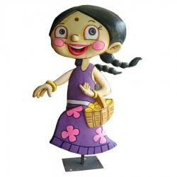 5 FT - Chota Bheem Chutki Fiber Cartoon Statue With Stand