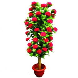 3.5 FT - Artificial Plastic Flower Plant - Flower Tree with Pot - Red & Green Color