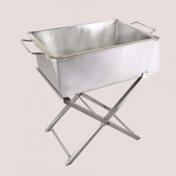 Rectangular Dustbin Stand With Dustbin - Made Of Stainless Steel.