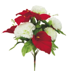 10 Inch - Artificial Plastic Flower Bunches - Flower Decoration - Red & White Color