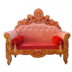 Wooden Sofa - Wedding Reception Sofa - Made Of High Quality Cushin & Fabric - Red Color.