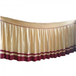 Table Cover Frill - Made of Brite Lycra - Cream & Maroon Color (Size Available 10 FT X 15 FT X 20 FT X 30 FT )