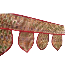 20 Ft Handmade Indian Elephant Home Rajasthani Door Toran / Sequence Red Border (Toran )