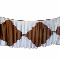 Table Cover Frill - Made Of Premium Lycra Quality Brown & White Color.