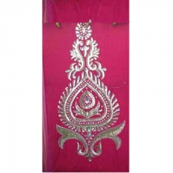 4 FT X 8 FT - Decoration Background Curtain - Entrance Decoration - Stage Decoration Cloth Made Of Velvet Fabric With Designing Of Moti Sitara Work - Pink Color