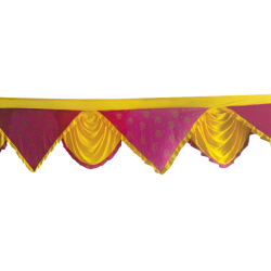 15 FT - Designer Zalar - Scallop Zalar - Kantha - Jhalar - Made of Lycra - Yellow & Maharani Pink Print Colour