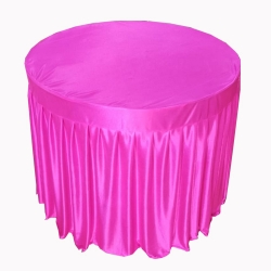 4 FT X 4 FT - Round Table Cover - Table Top Taiwan &  Jhalar Brite Lycra Cloth - Pink Color