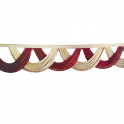 24 FT -Designer Zalar - Scallop Zalar - Chain Scallop Zalar - Kantha - Jhalar - Made Of Lycra With Tipki - Maroon & Light Chandan Colour